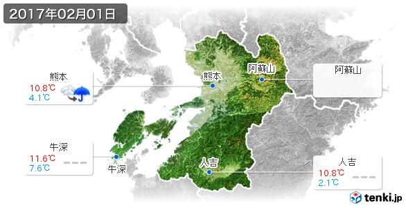 熊本県(2017年02月01日の天気