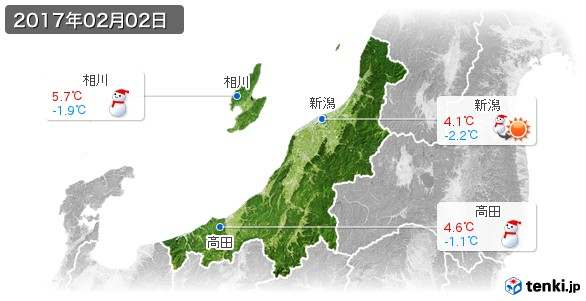 新潟県(2017年02月02日の天気