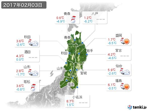 東北地方(2017年02月03日の天気