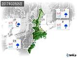2017年02月05日の三重県の実況天気