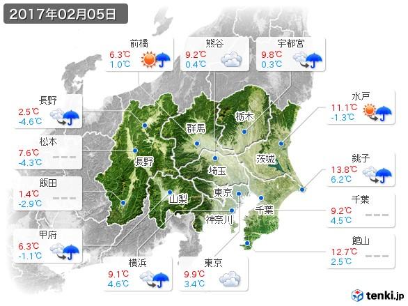 関東・甲信地方(2017年02月05日の天気