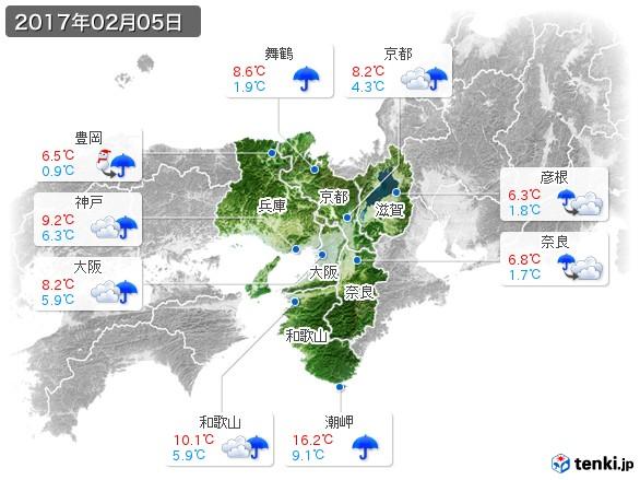 近畿地方(2017年02月05日の天気