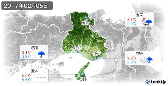 兵庫県(2017年02月05日の天気