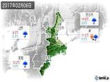 2017年02月06日の三重県の実況天気