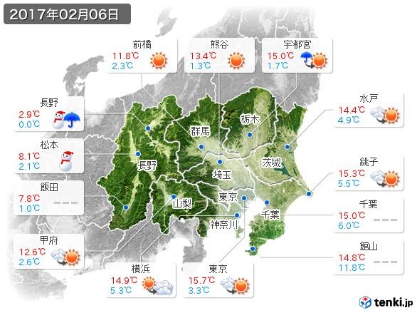 関東・甲信地方(2017年02月06日の天気