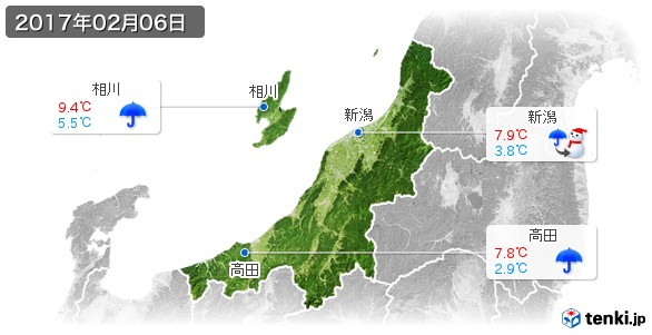 新潟県(2017年02月06日の天気