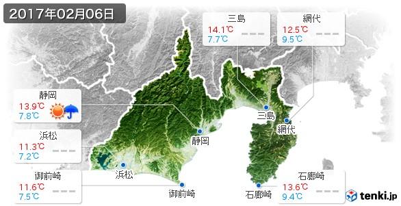 静岡県(2017年02月06日の天気