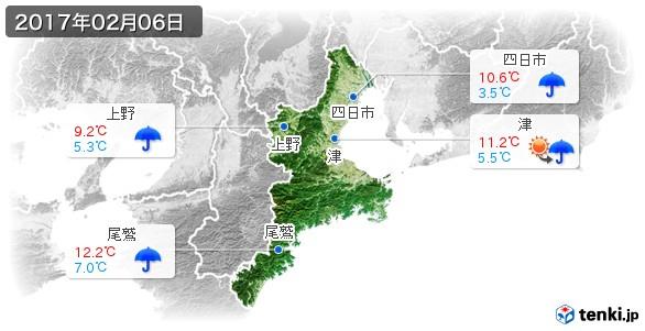 三重県(2017年02月06日の天気