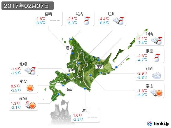 北海道地方(2017年02月07日の天気