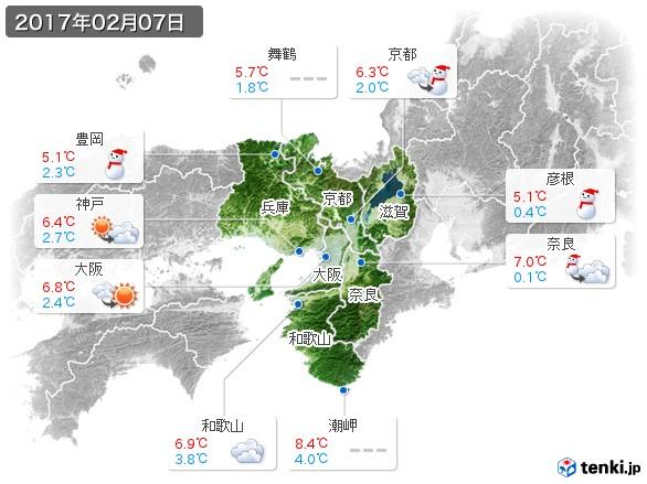 近畿地方(2017年02月07日の天気