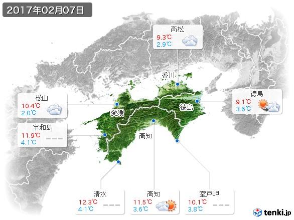 四国地方(2017年02月07日の天気