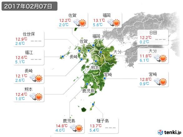 九州地方(2017年02月07日の天気