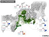 2017年02月09日の東海地方の実況天気