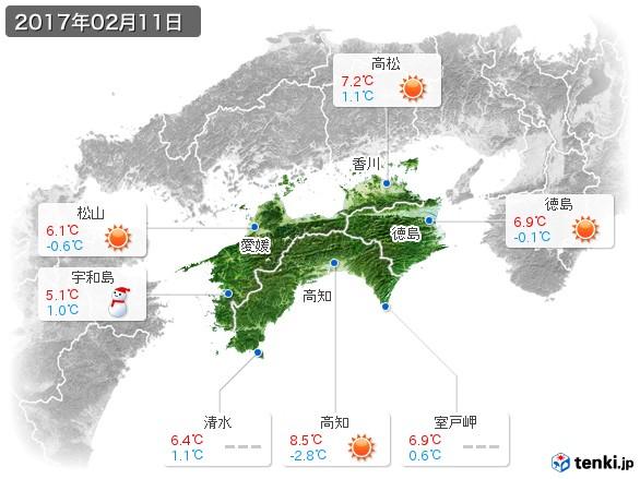 四国地方(2017年02月11日の天気