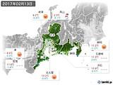 2017年02月13日の東海地方の実況天気
