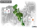 2017年02月13日の京都府の実況天気
