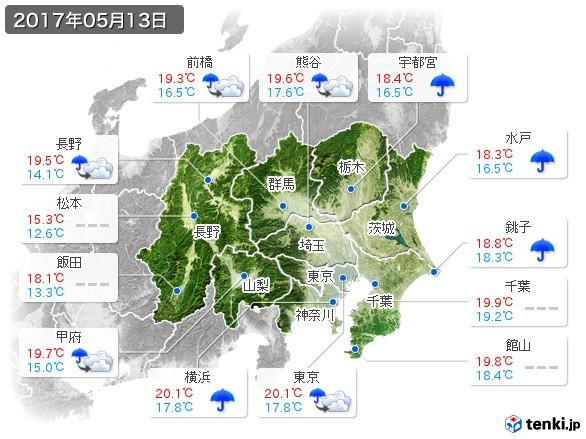 関東・甲信地方(2017年05月13日の天気