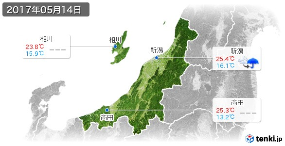 新潟県(2017年05月14日の天気
