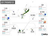 2017年06月01日の沖縄県の実況天気