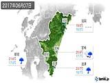 2017年06月07日の宮崎県の実況天気