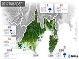 2017年06月08日の静岡県の実況天気