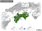 2017年06月11日の四国地方の実況天気