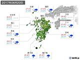 2017年06月20日の九州地方の実況天気