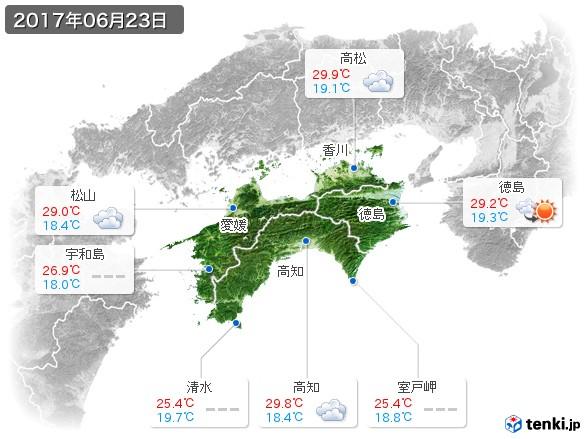 四国地方(2017年06月23日の天気