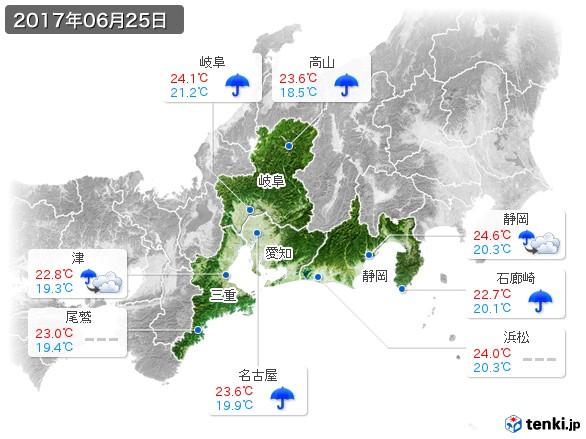 東海地方(2017年06月25日の天気