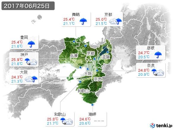 近畿地方(2017年06月25日の天気
