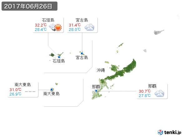 沖縄地方(2017年06月26日の天気
