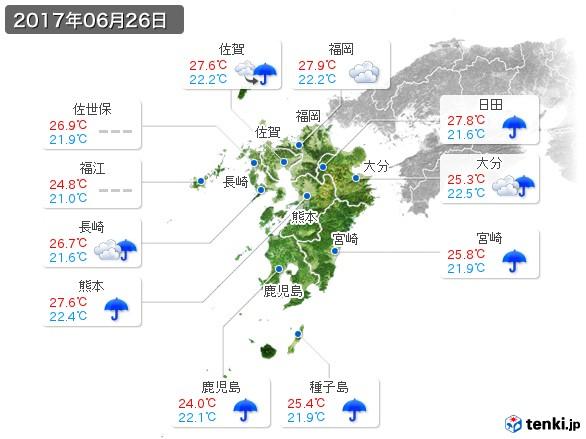 九州地方(2017年06月26日の天気