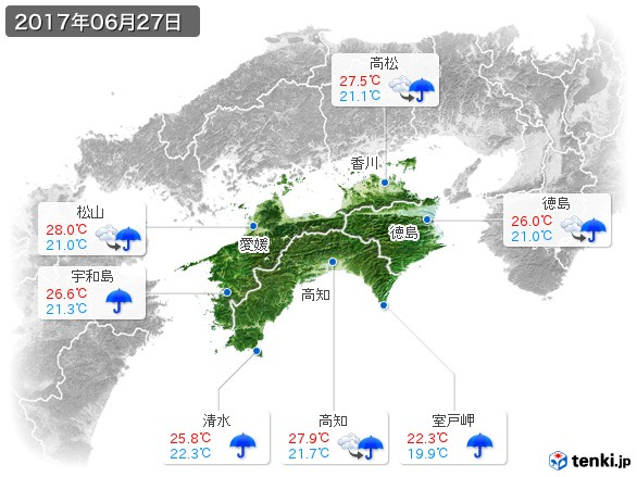 四国地方(2017年06月27日の天気