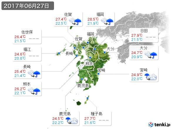 九州地方(2017年06月27日の天気