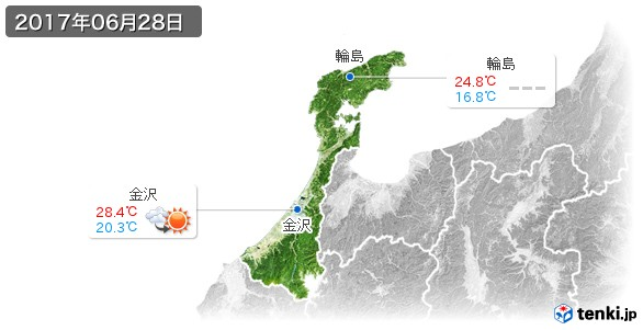 石川県(2017年06月28日の天気