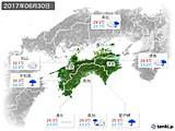 2017年06月30日の四国地方の実況天気