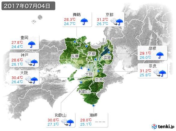 近畿地方(2017年07月04日の天気