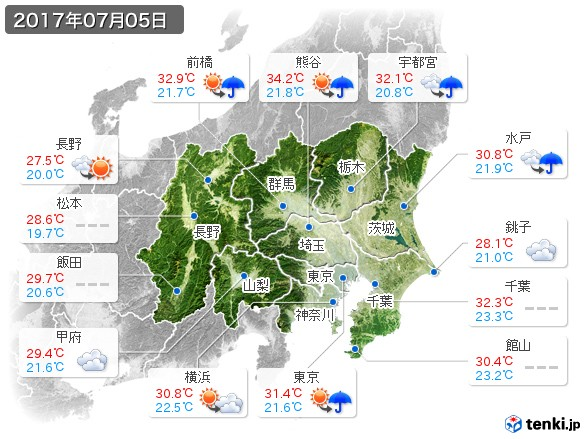 関東・甲信地方(2017年07月05日の天気
