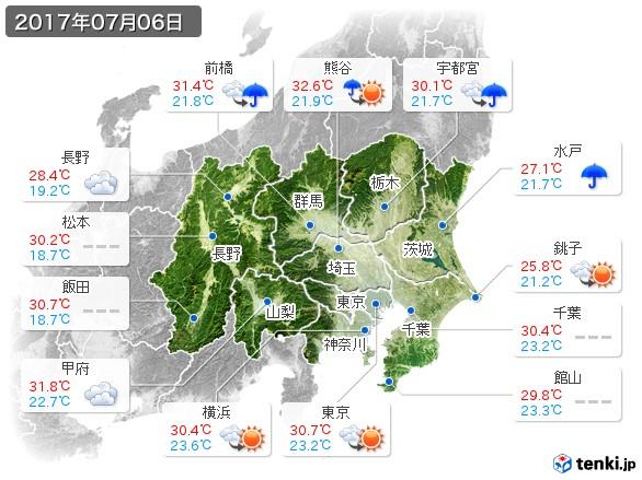 関東・甲信地方(2017年07月06日の天気