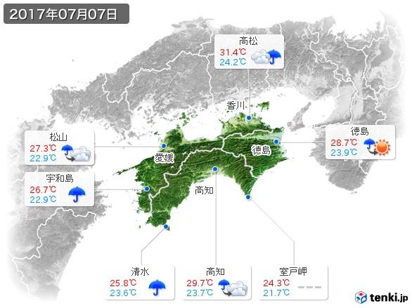 四国地方(2017年07月07日の天気