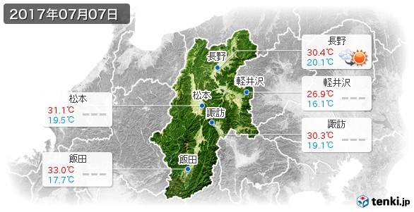長野県(2017年07月07日の天気