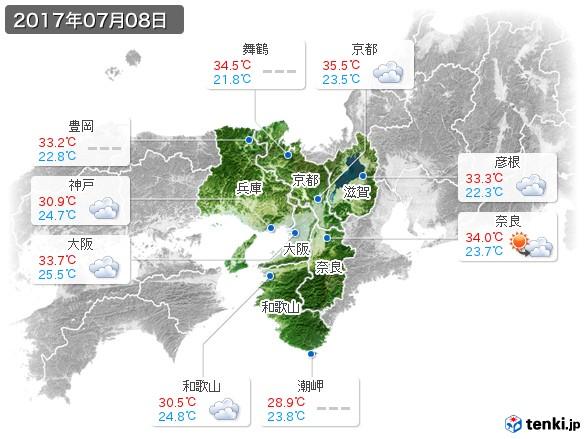 近畿地方(2017年07月08日の天気