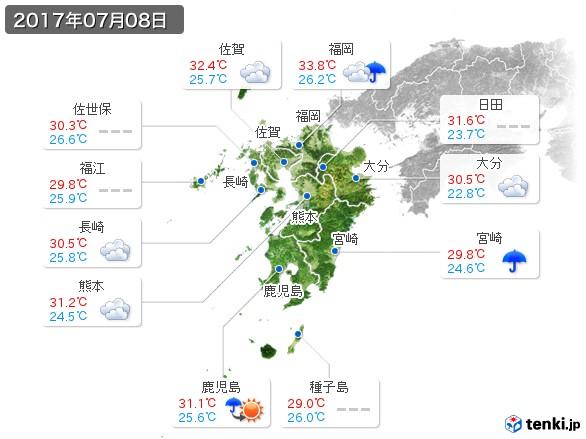 九州地方(2017年07月08日の天気
