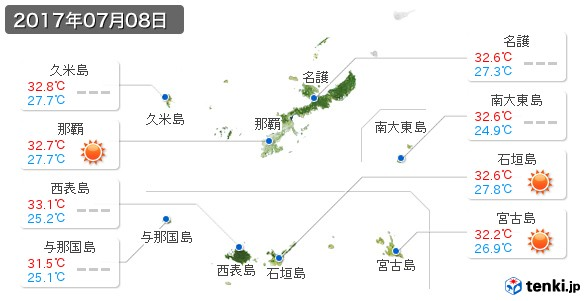 沖縄県(2017年07月08日の天気