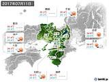 2017年07月11日の近畿地方の実況天気