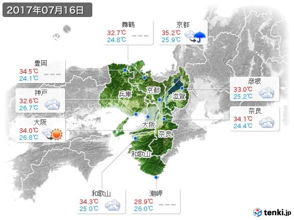 近畿地方(2017年07月16日の天気