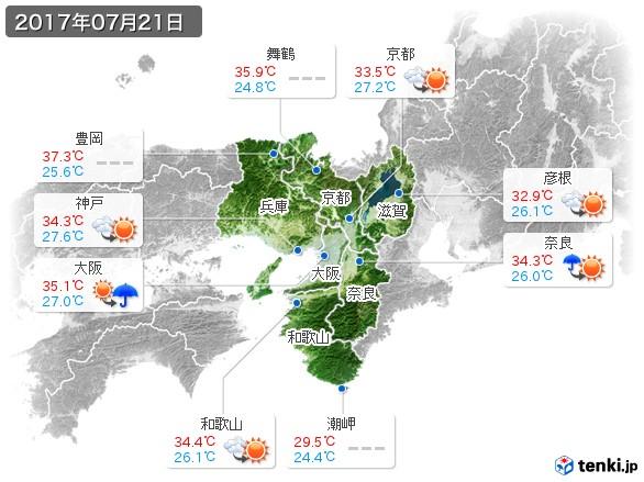 近畿地方(2017年07月21日の天気
