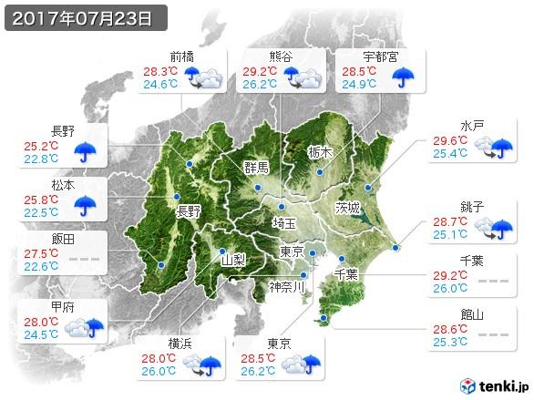 関東・甲信地方(2017年07月23日の天気