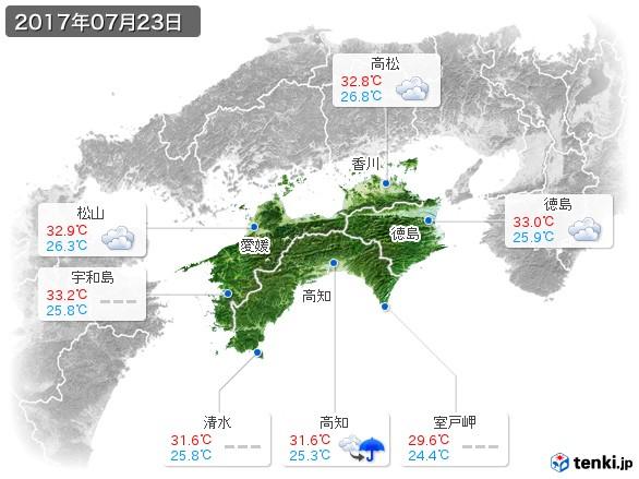 四国地方(2017年07月23日の天気