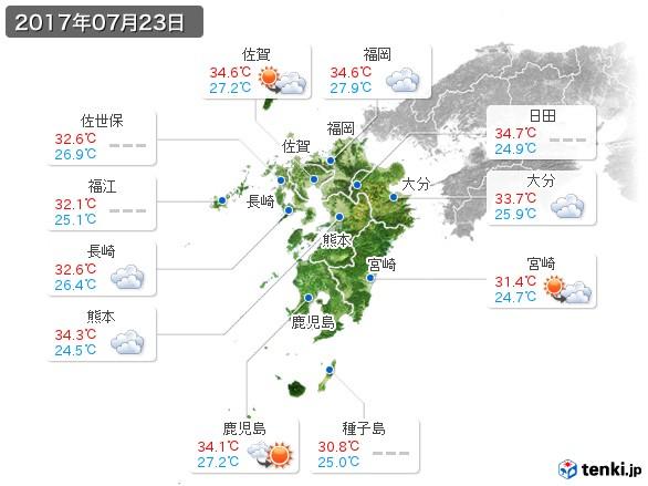 九州地方(2017年07月23日の天気